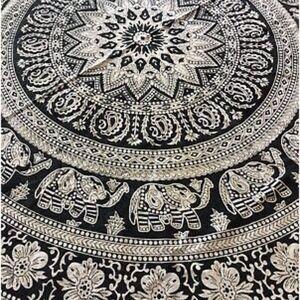 "K Brand Tablecloth 56x79"" Oblong White W Black"